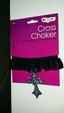 DISGUISE  COSTUME / HALLOWEEN CROSS CHOCKER NECKLACE (AGE 14 +)