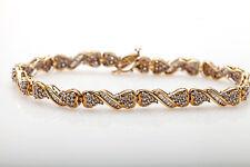 "Estate $6000 3ct Round Baguette Diamond 10k Yellow Gold Tennis Bracelet 7.5"" 10g"