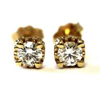 New 14k yellow gold .41ct SI2 H round cut diamond stud earrings 1.4g heart prong