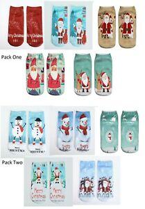 Ankle Socks 5 pack Christmas Adult,Teens Cute Santa Claus Snowman Xmas Socks