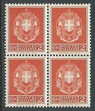 1929-42 REGNO STEMMA 2 CENT QUARTINA MNH ** - JUL6-2