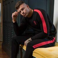 Mens Gym King Fleece Jumper Black / Red Full Tracksuit Joggers Sweatshirt Top