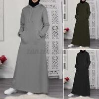 ZANZEA Damen Hoodie-Kleid Lose Sweatshirt Kapuzenpullover Dress Muslim Maxikleid