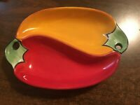 """""""Fiesta"""" by Company's Coming Pottery Red Gold Green Condiment Dish Serving Salsa"""