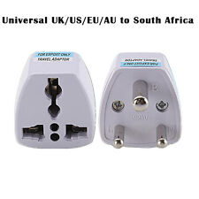 Universal UK/US/EU/AU to South Africa 3 pin Travel Power Adapter Plug White