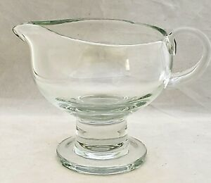 Heavy Blown Glass Clear Pedestal Sauce Pitcher Large FOOTED GRAVY BOAT