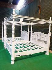 UK Stock super king blanc sculpté à la main de acajou bois massif Four Poster Bed