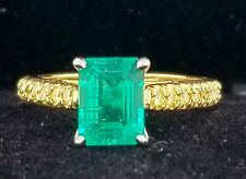 GORGEOUS 18K YELLOW  GOLD  RING 1.60CT. NATURAL GREEN EMERALD