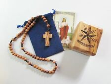 Olive Wood Rosary & Rosary Box From Holy Land, Star on Top