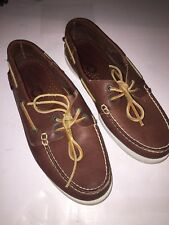 QUODDY Brown Leather String Boat Moccassin dock shoes Mens Size 8   Made in USA