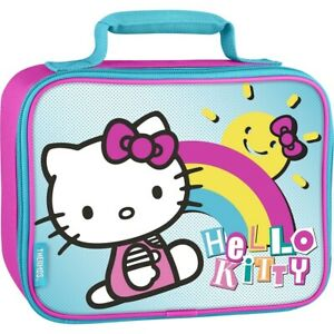 Hello Kitty Lunch Bag Box Insulated Soft Sided Lunch Kit Pink Blue