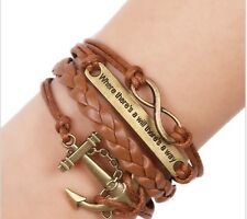 """Leather Bracelet Anchor Infinity Charms """"When There's A Will There's A Way"""""""