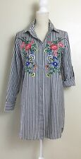 New Walter Baker Tunic Striped Embroidered Floral Size L