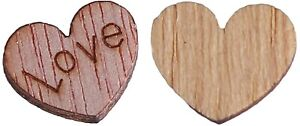 5 x 12mm Wooden Love Heart Tags Tag Embellishments Natural Wood Ornament Crafts