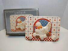 Rare Vintage Chicken Hen B&D Japan Ceramic Kitchen Apron Towel Hook Wall Rack