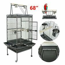 "Bird Cage Large Parrot Finch Budgie Cockatoo Pet With Rolling Stand 68"" Usa"