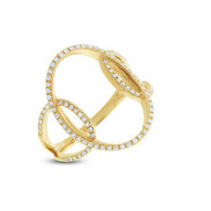 0.27CT 14K Yellow Gold Round Diamond Intertwined Oval Circle Open Cocktail Ring