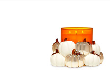 New ListingBath & Body Works White & Gold Pumpkin Patch Candle Holder For 3 Wick Candles