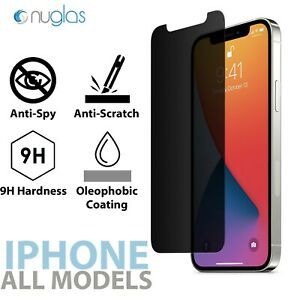 Nuglas Privacy Anti-Spy Glass Screen Protector For iPhone 12 11 Pro Max XS XR 8