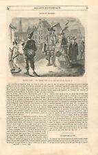 Costumes bal masqué loups masques famille noble ville Pays-Bas GRAVURE 1846