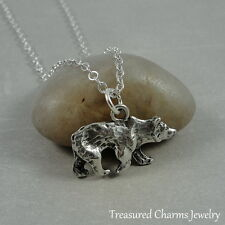 Silver Grizzly Bear Charm Necklace - Black Bear Wildlife Pendant Jewerly NEW