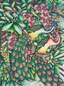 Hand painting Balinese Bali Peacocks 248