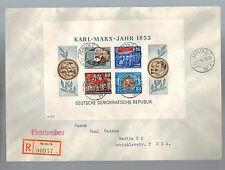 1954 Berlin DDR East Germany Karl Marx Souvenir Sheet Cover # 146a