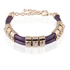 Purple Fashion PU Leather & Gold Rhinestones Wrap Woven Bracelet Bangle BB68