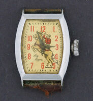 Vintage 1950's Ingraham Roy Rogers wind-up Character Watch for Parts or Repair