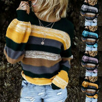 Women Long Sleeve Knitted Sweater Ladies Patchwork Casual Pullover Jumper Blouse