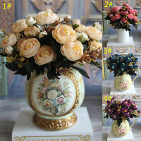 NEW Artificial Rose Silk Flowers Camellia Wedding Bridal Bouquet Home Decor 28*4
