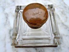 Encrier bureau cristal taille laiton Napoleon III d'époque 19ème