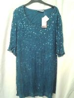 Adini tunic style semi empire beaded and sequinned 3/4 sleeve evening dress