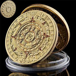 Maya Aztec Predict Calendar Gold Plated Colored Metal Commemorative Coin