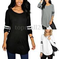 AU8-24 Women Cotton Long Sleeve Stripe Crew Neck Casual T-shirts Tops Blouse Tee