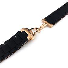 Negro 23 20mm/Acero Correa de banda de goma pulsera Fit Emporio Armani AR5905 AR5906