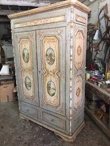 """Armadio Tirolese Antico Decorato 800"""" Restaurato Da Museo"""