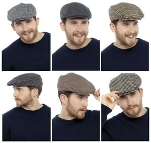 Mens Tweed Check Vintage Herringbone Wool Mix Flat Cap Gatsby Baker Boy Newsboy