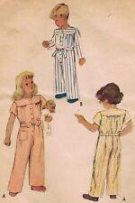 Uncut 1946 McCalls 6707 Childrens Pajamas One Piece Playsuit 6 Short Long Sleeve