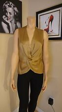 Delightful from The Limited Gold sleeveless knotted vest sz M 100% silk blouse