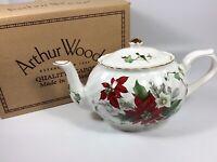 Vintage Arthur Wood Teapot #6296 Christmas Pattern Gold Trim