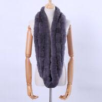 Real Rex Rabbit Fur Scarf Infinity Cowl Ring Scarves Wrap Snood Street Nice Gift
