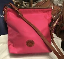 Dooney Bourke Nylon & Vachetta Leather Hobo Shoulder Bag Crossbody Fuchsia Pink