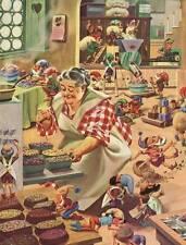 Mrs Santa Claus baking cakes treats for Christmas