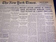 1941 JANUARY 8 NEW YORK TIMES - BRITISH CAPTURE AIRPORT OF TOBRUK - NT 1319