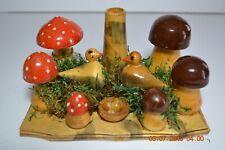 Vintage Hand Painted Folk Art Mushroom Field