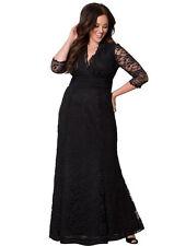 Lady Long Maxi Black Formal V Half Sleeve Lace Evening dress Plus Size 22W-24W