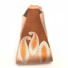 Henri Picard Men's Tie Hanky Peach Rust Orange 100% Silk Multi-Design Hand Made