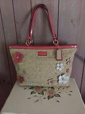 Coach Straw Floral Appliqué Tote Bag F29861 Sz: Large Shoulder Purse Bag Euc~