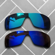 2 Packs Polarized Replacement Lenses for-Oakley Batwolf-Sky Blue&Violet Mirrored
